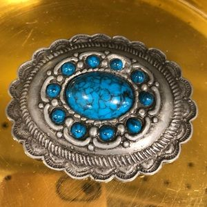Handmade blue turquoise cabochon belt buckle 162